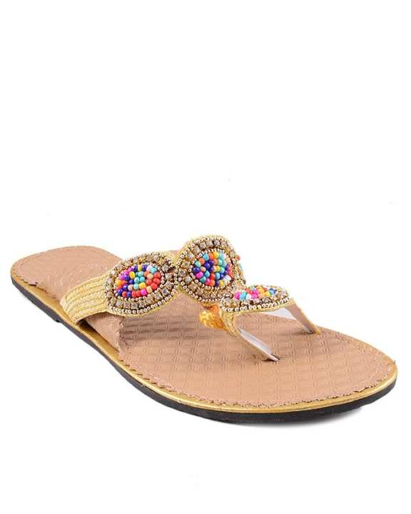 Beige Golden Flat Shoe with colorful beads