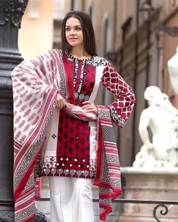 White 3Pcs Printed With Embroidered Front & Print Borders-Unstitched