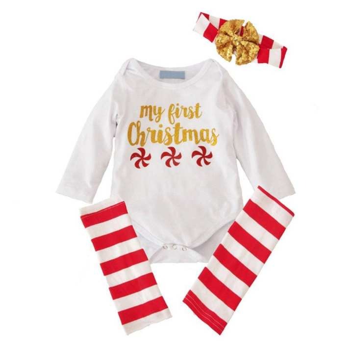3 Pcs Toddler Romper+Leggings+Heaband Baby Christmas Clothes For Newborn white&red&gold 70cm