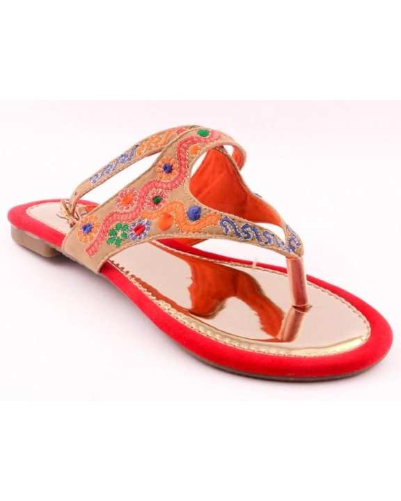 Red Synthetic Embroidered Formal Sandal for Women