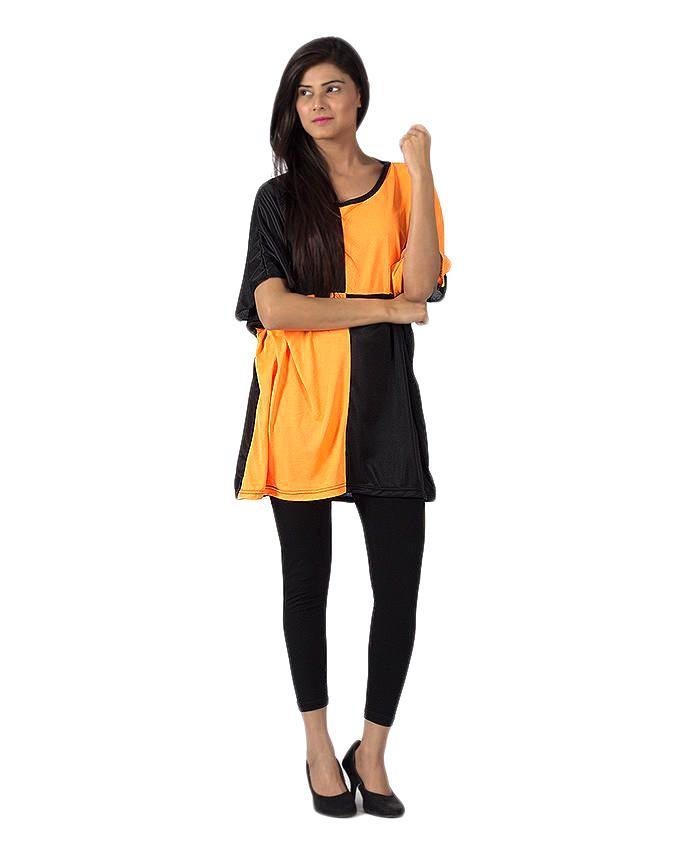 Black & Orange Polyester Tunic For Women