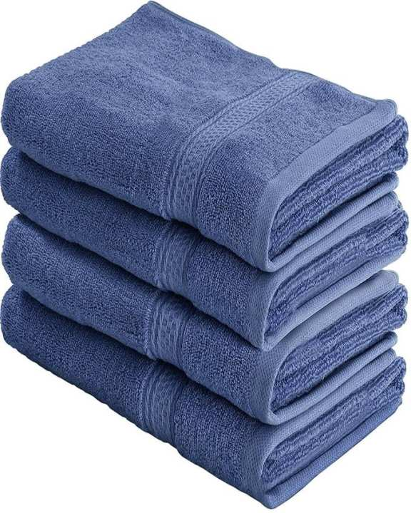 Fast Forward Export Quality Cotton Large Hand Towels (Blue, 4-Pack,16 x 28 inches) - Multipurpose Use for Bath, Hand, Face, Gym and Spa  by Utopia Towels