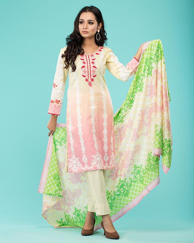 588f5da300 Pink   lemon 3PC Printed Unstitched Cotton Suit - Fall Collection