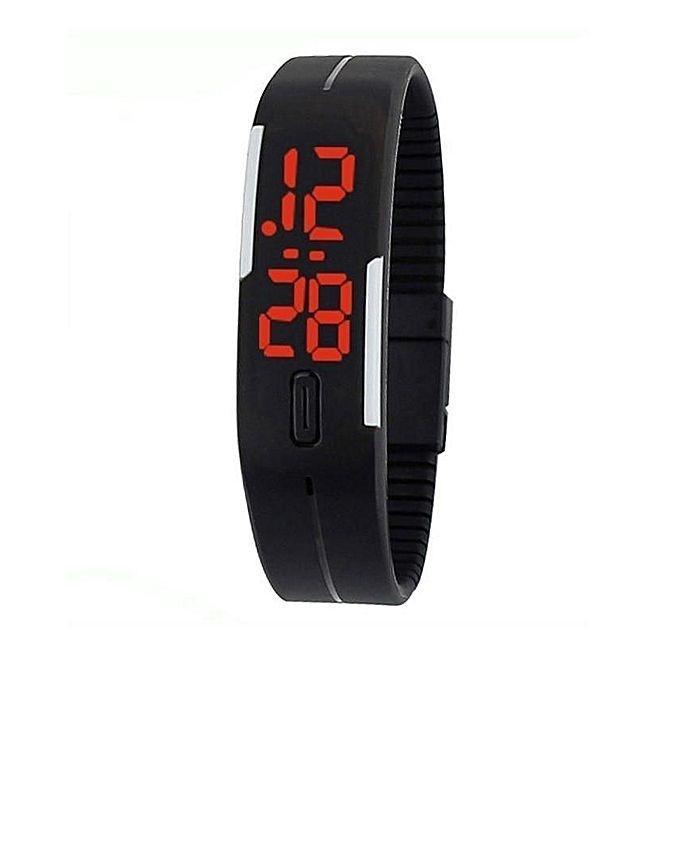 Rubber Led Bracelet Watch Black