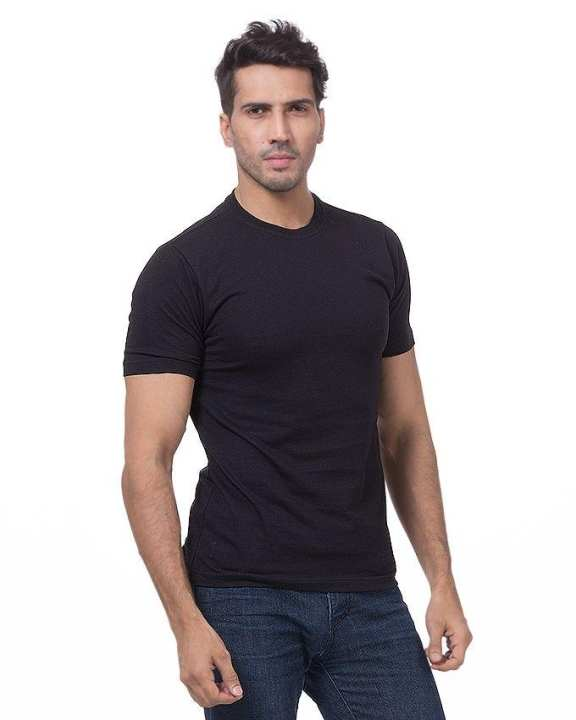 Black Soft Cotton Half Sleeves Round Neck Fitted Plain T-Shirt For Men
