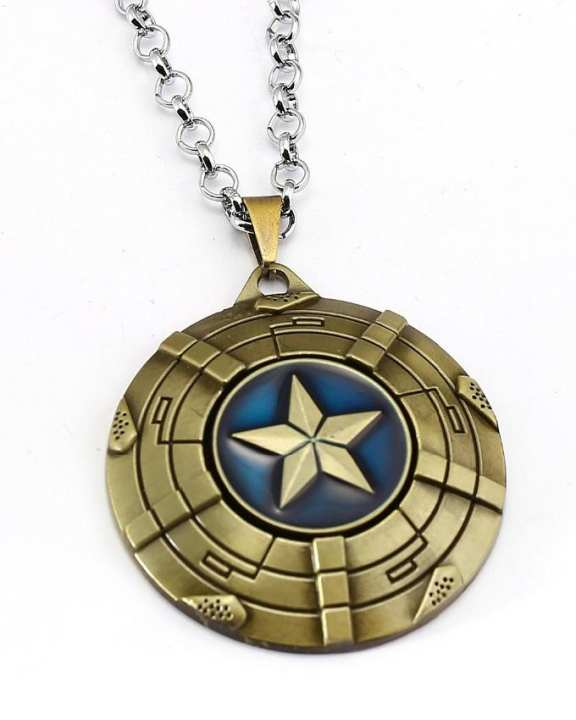 Captain America Shield Metal Alloy Fashion Necklace-Metal
