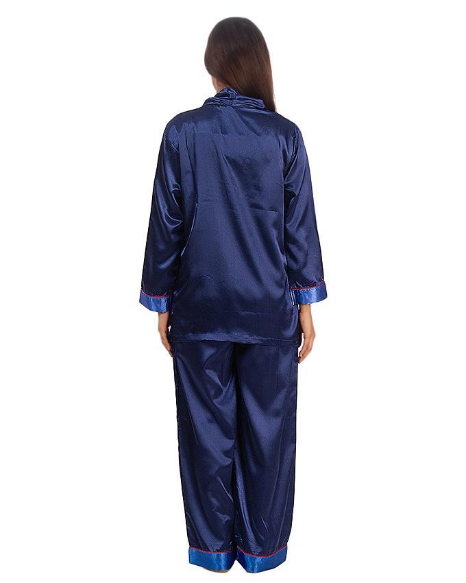 Navy Blue Satin Silk Shown Collar Pj Set For Women - Pj15 Nv