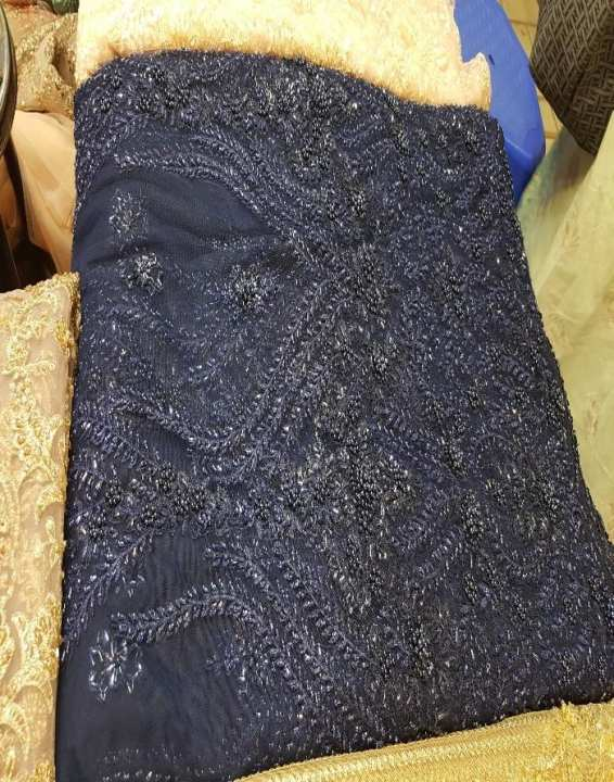 Navy Blue Net Wedding Wear For Women