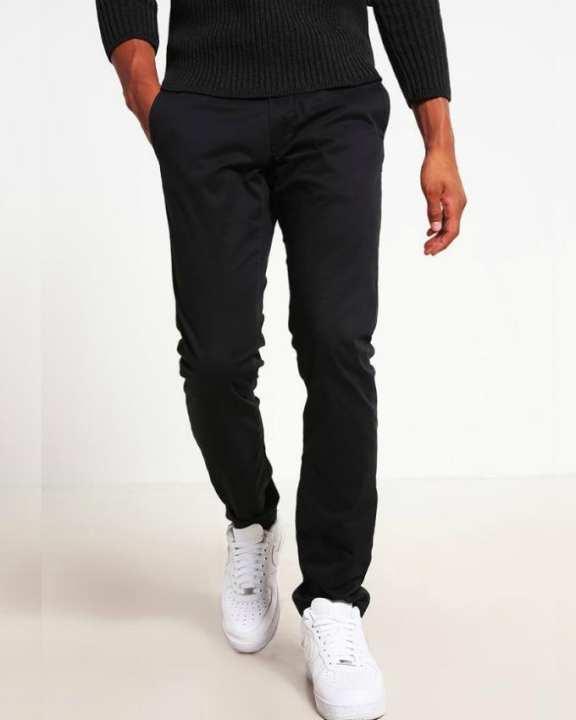 Black Cotton Chino Pants for Men