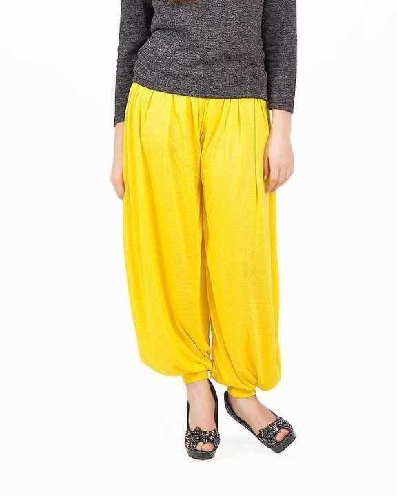 Yellow Viscose Harem Pants For Women
