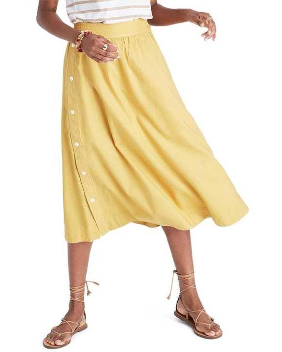 Yellow Cotton Skirt For Women