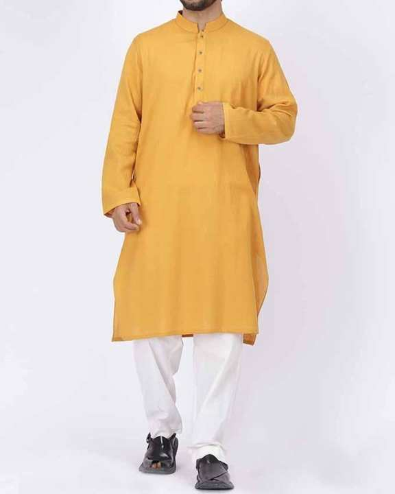 Yellow Bunnat Regular Fit Men'S Kurta