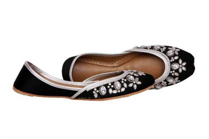 Black  Embroidered Khussa For Women