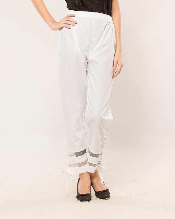White Cotton Bow Tie Pants for Women