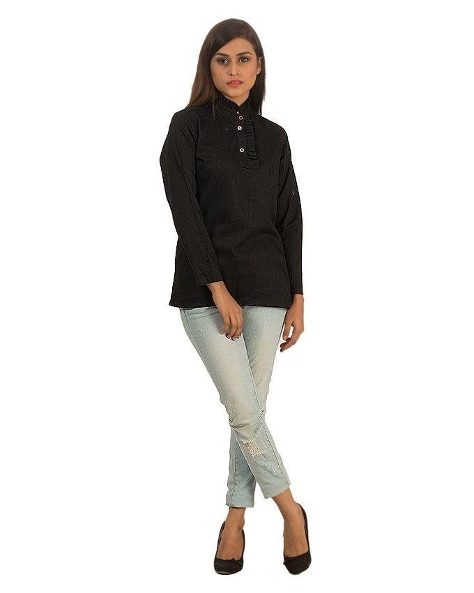 Black Fine Self-striped Cotton Shirt with Frilly Top for Women - Smart-fit