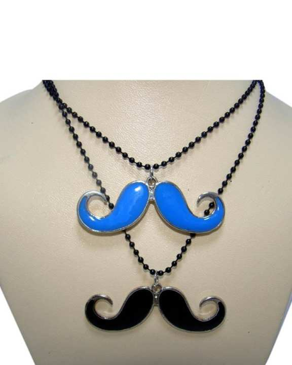 Black & Blue Mustache Necklace - Pack Of 2