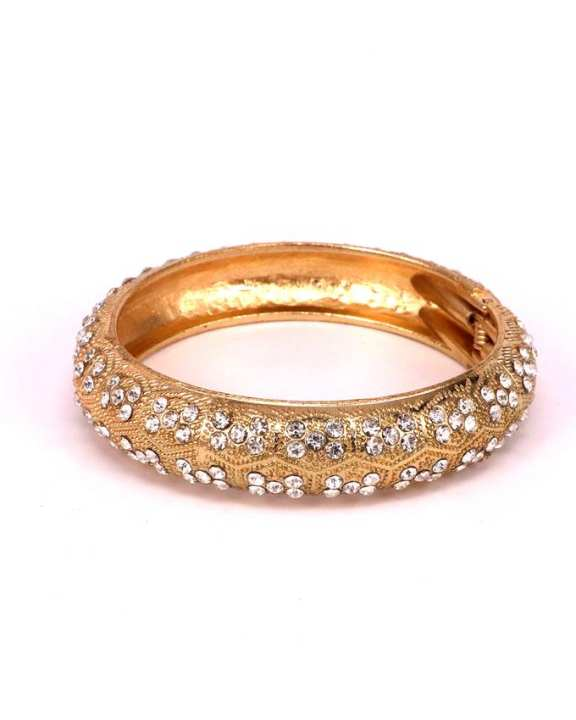 Golden bangal with small zarcone stones for girls