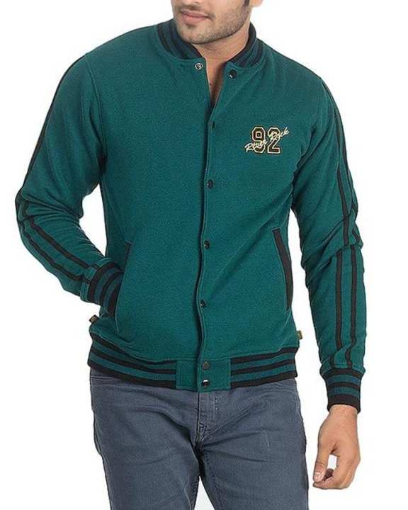 Teal Green & Black Cotton Fleece Embroidered Front Jacket For Men - 7869-259