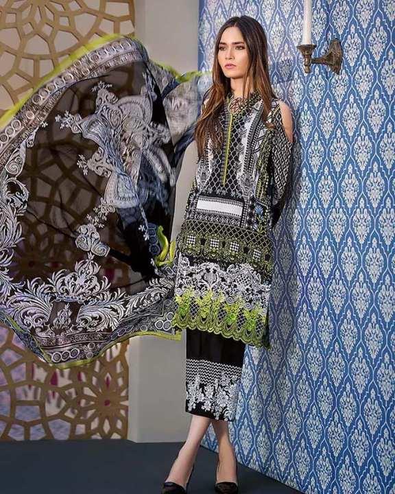 Gul Ahmed - Black Chiffon Printed shirt/Shalwar ane Embroidered Lace 3PC-Unstitched -  C-493-158446