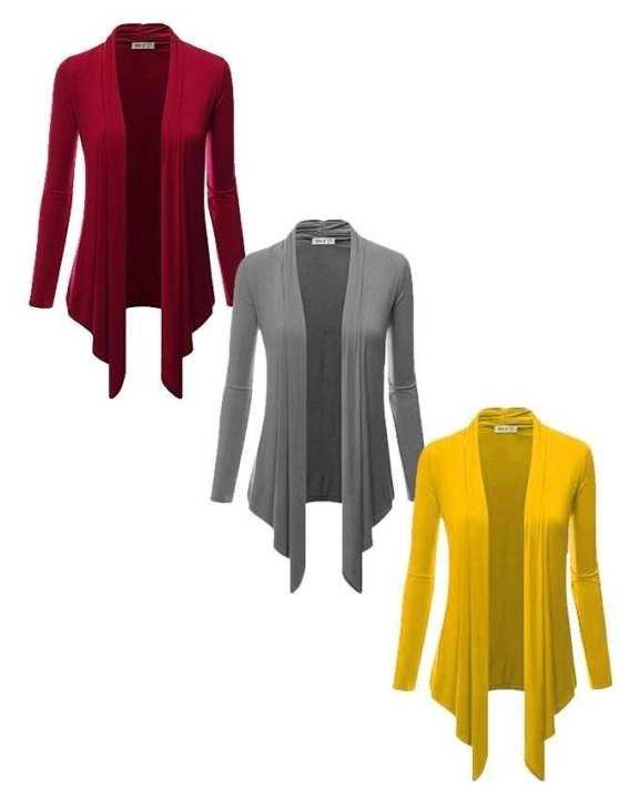 Pack Of 3 Multicolour Plain Polyester & Viscose Shrug For Women