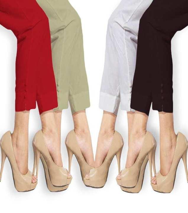 Pack Of 4 - Multicolor Cotton Cigarette Pants