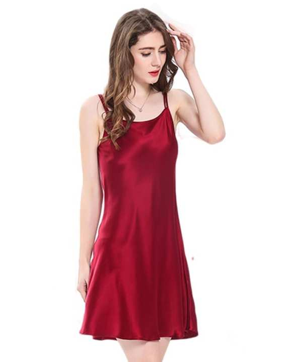 Solid Silk Dark Red Color Short Chemise - Sht Che Bdy