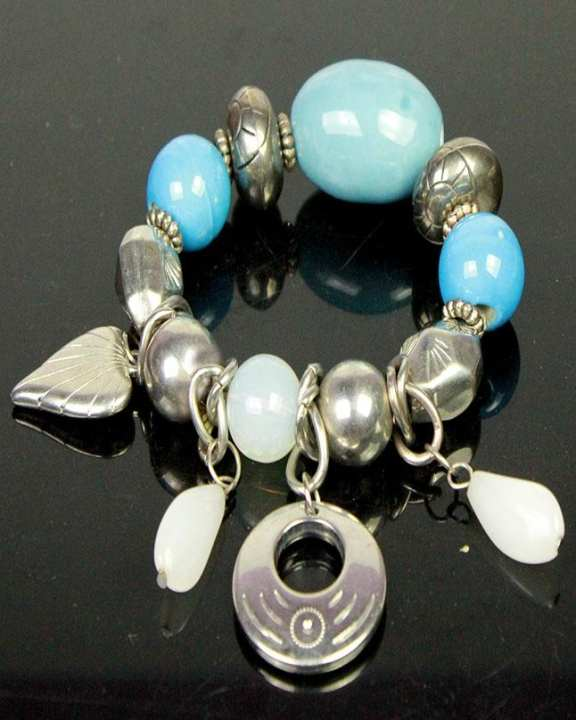 Silver Beads Bracelet With Blue & White stones