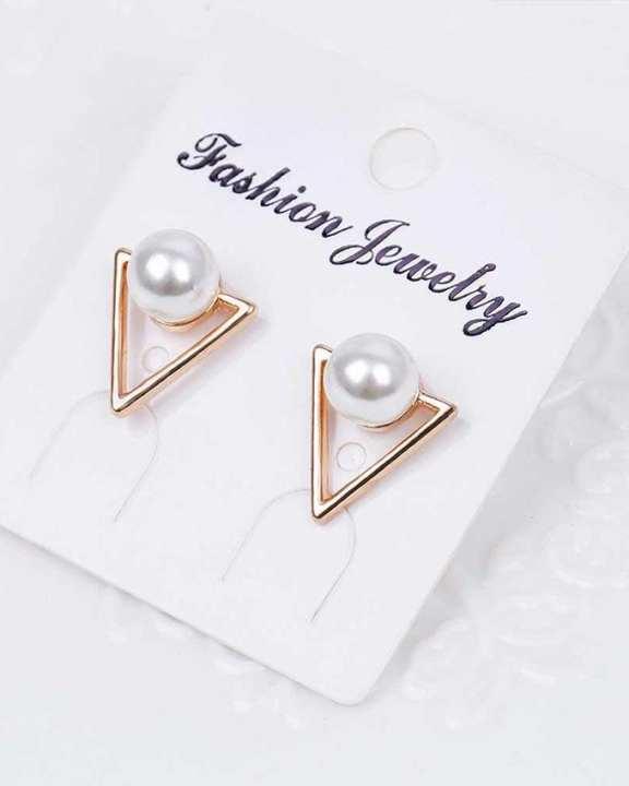 Golden Zinc Alloy and Pearl Traingle Basic Stud Earrings For Women