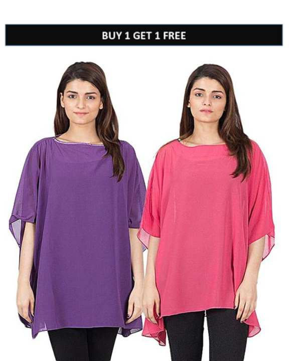 Pack Of 2 - Purple & Pink Chiffon Poncho For Women
