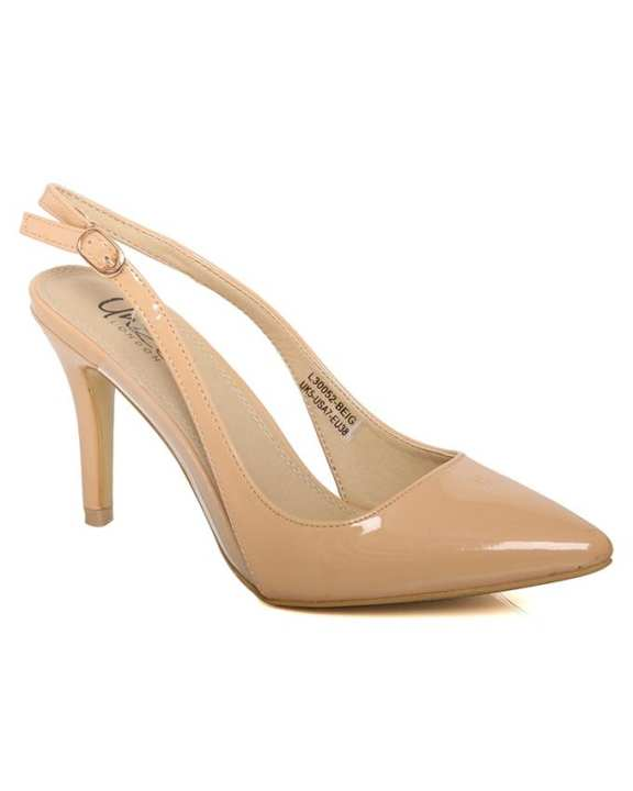 """Beige Women """"ELIF"""" Patent Pointed Toe Sling Back Ankle Strap Stiletto Shoes L30052"""