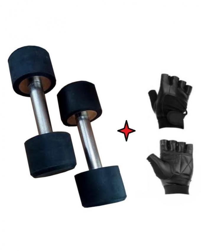 Bundle Offer - 3 Kg Dumbbells With Free Gym Gloves - Black