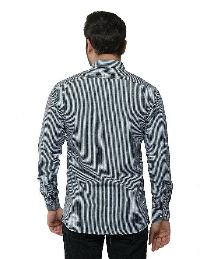 ACLIPSE - Charcoal Blended Cotton Striped Shirt for Men