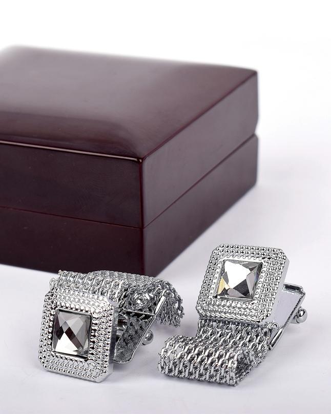 Silver Stainless Steel Cufflinks For Men