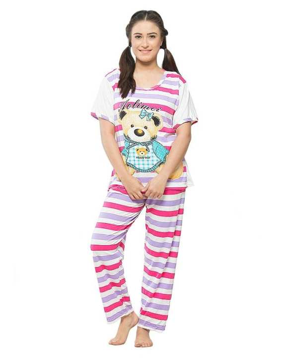 Pink & White Jersey Night Suit for Women