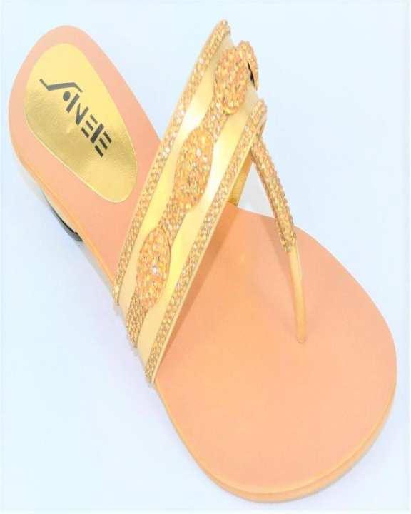 Golden Rexine Slipper for Women