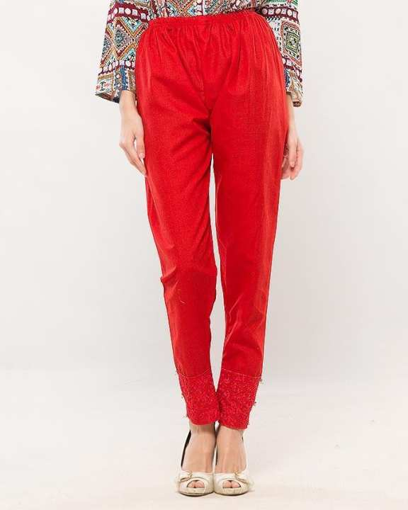 Solid Red Color Fitted Trouser For Women - T001-Rd