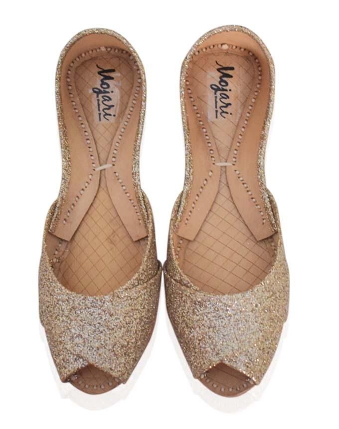 Peach Shimmering Leather Khussa for Women