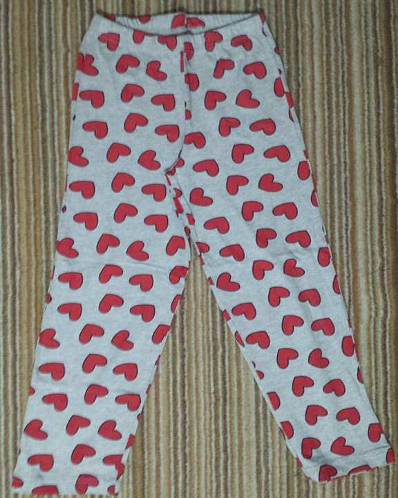 Heart Print Heather Grey Cotton Pajama For Girls