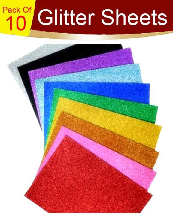 Sticky Fomic Glitter Sheets Pack of 10 A4 Size for Art Work