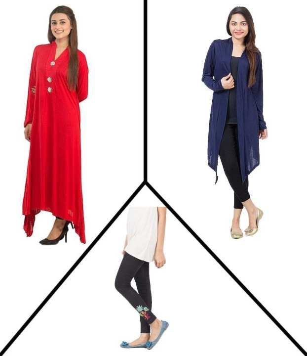 Pack of 3 - Multicolor Viscose Top, Shrug & Tights for Women