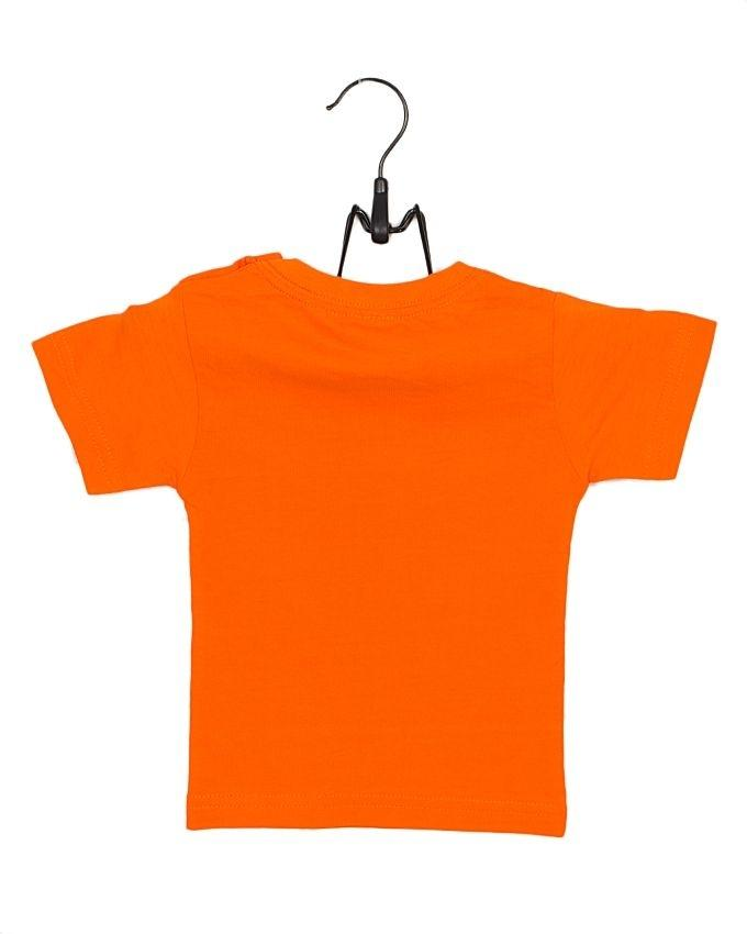 Orange Cotton Jersey T-Shirt with Printed Front for Both