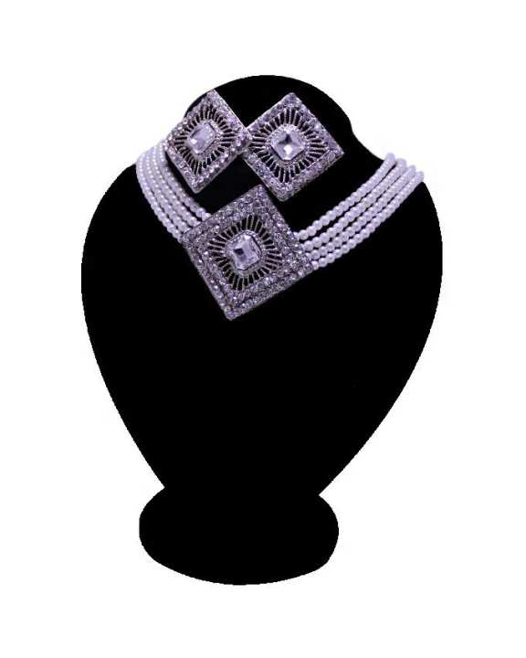 Full Stone Square Shape Jewelry Set-Silver