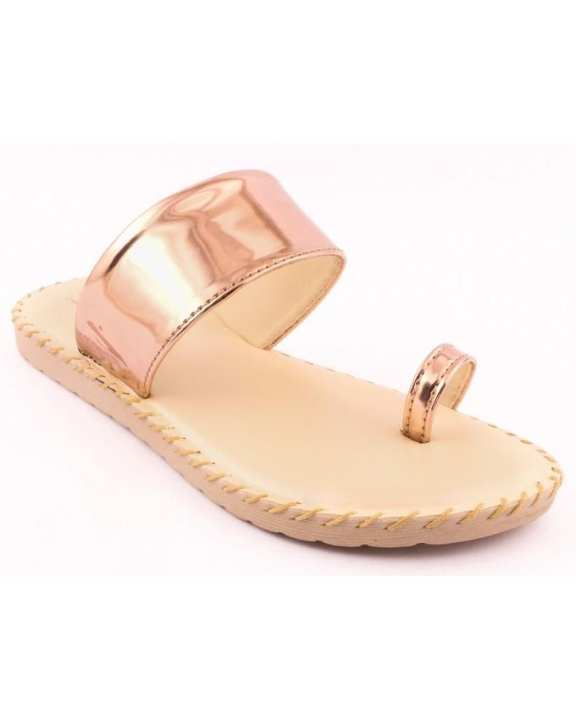 Peach Synthetic Ladies Casual Chappal