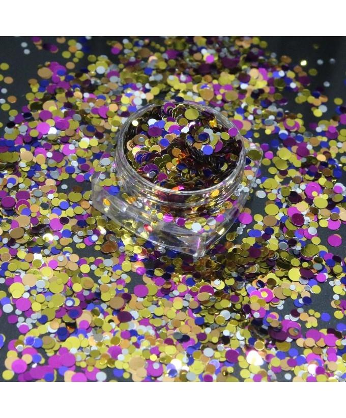 3g Round Shape Mix Color Glitter Pot For Nails