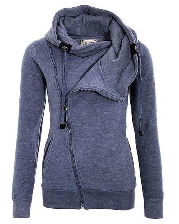Sky Blue Cotton Zipper Hoodie for Women