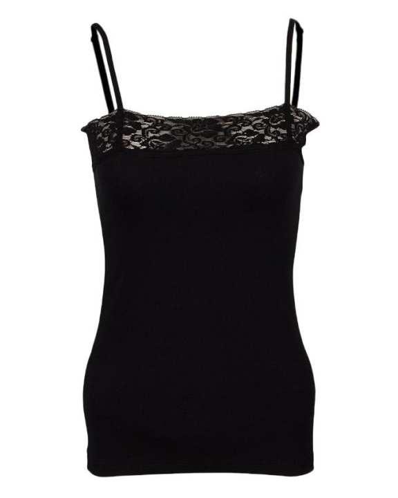 Camisole Collection Black Cotton Lace Trim Single Camisole for Women