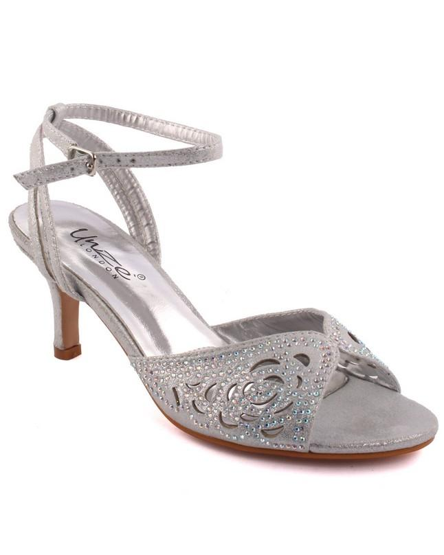 d8ed8661ebe8 Silver Women  Frawn  Glittery Evening Heeled Sandals L28741