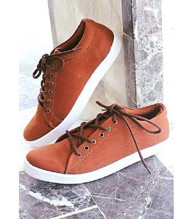 Brown Canvas Stylish Men's Sneakers