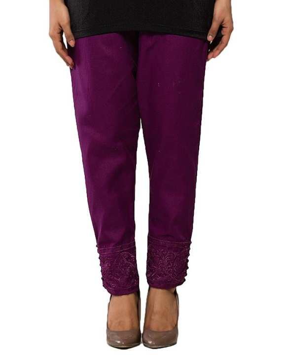 Purple Cotton Embroidered Cigarette Pant for Women