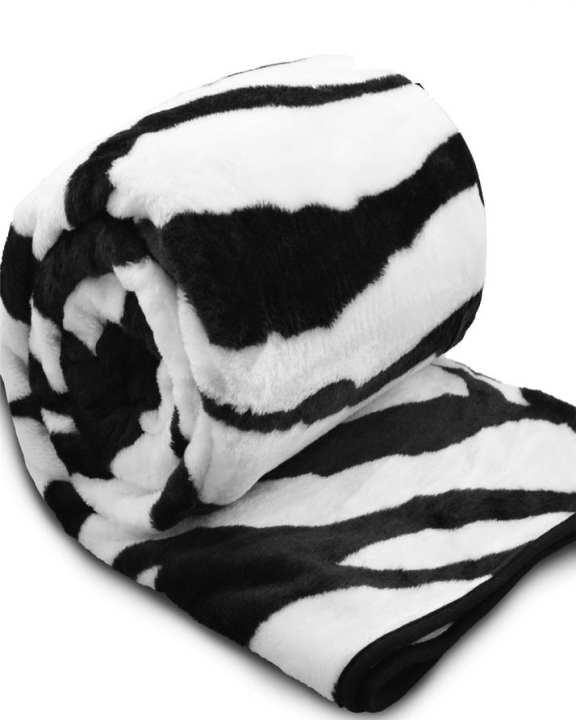 Faux Fur Zebra Print Throw Blanket For Bedding